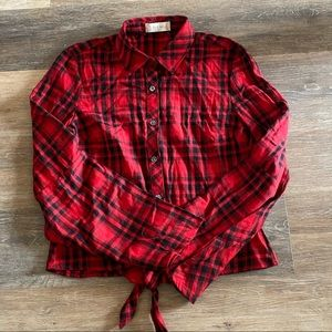 Altar'd State Bell Sleeve Red Checked Top